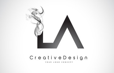 LA Letter Logo Design with Black Smoke.