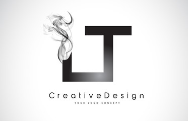 LT Letter Logo Design with Black Smoke.