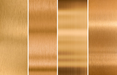 various brushed bronze metal textures set