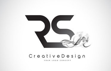 RS Letter Logo Design with Black Smoke.
