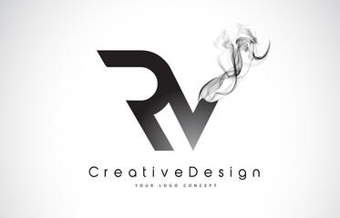 RV Letter Logo Design with Black Smoke.