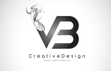 VB Letter Logo Design with Black Smoke.