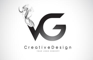 VG Letter Logo Design with Black Smoke.