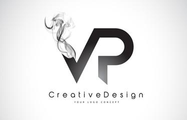 VP Letter Logo Design with Black Smoke.