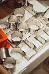 Different metallic utensils in cafe