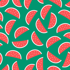 seamless watermelon pattern on a green background. Created for backgrounds