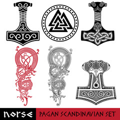 Scandinavian pagan set - Thors hammer - Mjollnir, Odin sign - Valknut and world dragon Jormundgand. Illustration of Norse mythology
