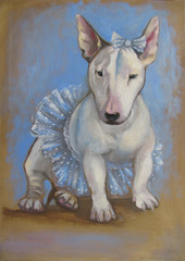 Painting of white bull terrier puppy with funny skirt and bow on sepia and light blue artistic background. Original artwork, oil on canvas