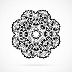 Vector Black Geometry Mandala over white