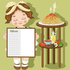Little girl cook with spaghetti and menu