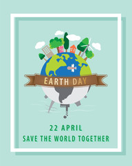 Earth day concept,22 April,The globe and brown ribbon with a white square border on a blue background.
