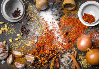 Oriental spice blend on the dark table