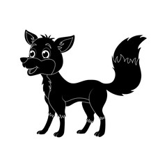 Cartoon fox silhouette isolated on white background