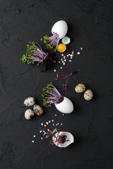 Fresh watercress salad in eggshell and quail eggs on a black background..