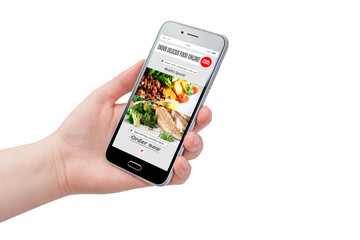 Woman hand holding phone with app delivery food on screen, isolated on white background