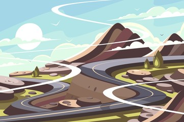 Mountain asphalt road serpentine