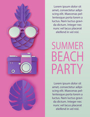 Summer beach party invitation pattern with paper cut pineapple in sunglasses, retro photo camera and tropical palm leaf. Vacation, party, summer concept