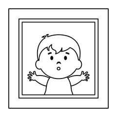 Photo frame with baby picture vector illustration design