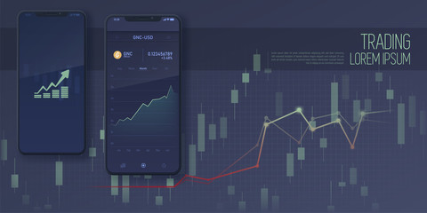 web banner of mobile stock trading concept, online trading, market analysis, business and investment