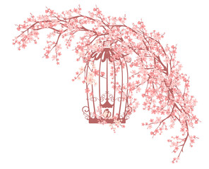 open bird cage among blooming cherry tree branches - spring season vector design
