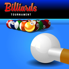 Billiard balls on table vector. Billiard game sport competition leisure illustration
