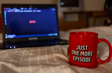 Watching series with a cup of tea. Just one more episode. Millennial concept