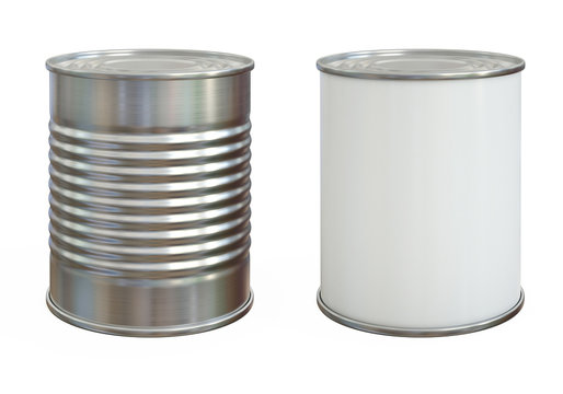 Tin can mock up, aluminum can and blank copy space can isolated on white background 3d rendering