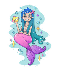 Mermaid with a funny fish. Cute cartoon style. Fairy character illustration in hand drawn style. Fairy undine princess. Sticker, print, icon, poster.