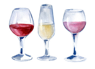 Glasses of wine: red, white, pink. Hand drawn watercolor illustration of isolated.