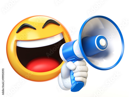 Emoji holding loudspeaker isolated on white background