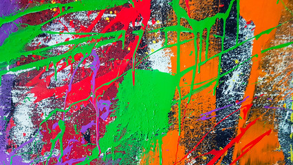 Original oil painting on wall. Abstract art background. Brushstrokes of paint. Modern art. Contemporary art. Colorful texture. thick paint surface