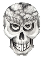 Art Surreal Skull . Hand pencil drawing on paper.