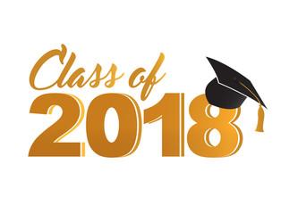 Class of 2018 golden sign Illustrator. design graphic