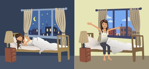Cute young woman sleep at night in the bedroom and wake up in the morning. Vector illustration.