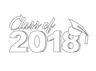Class of 2018 line sign Illustrator. design graphic