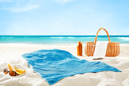 towel on beach and free space for your decoration.