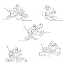 Continuous line drawing. Set of a hockey goalkeeper in action. Ice Hockey. Vector illustration