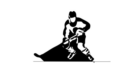 Continuous line drawing. Black and white illustration shows hockey player in attack. Ice Hockey. Vector illustration