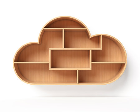Bookshelves in the shape of cloud, online library book shelf concept