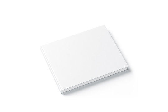 Blank white rectangular book mock up, top view from the side. Empty notebook hard cover mockup, isolated. Bookstore branding template