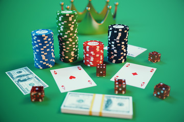 3D illustration casino game. Chips, playing cards for poker. Poker chips, red dice and money on green table. Online casino concept.