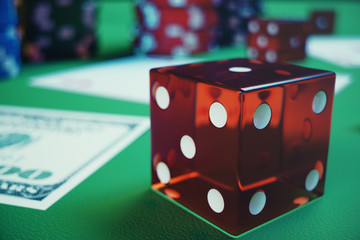 3D illustration playing chips, cards and money for casino game on green table. Real or Online casino concept.