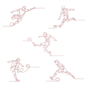 Continuous line drawing. Set of a football player kicks the ball. Soccer. Vector illustration