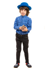 Little businessman with smartphone