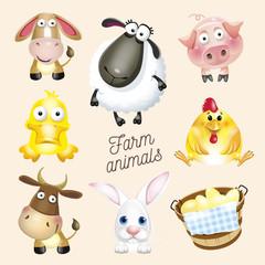 Farm life. Cartoon fun farm animals set. Vector illustration, isolated on white background