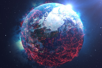 3D rendering Network and data exchange over planet earth in space. The concept of contamination of the earth by a deadly virus. The concept of hacking the network and data exchange, Earth is in danger