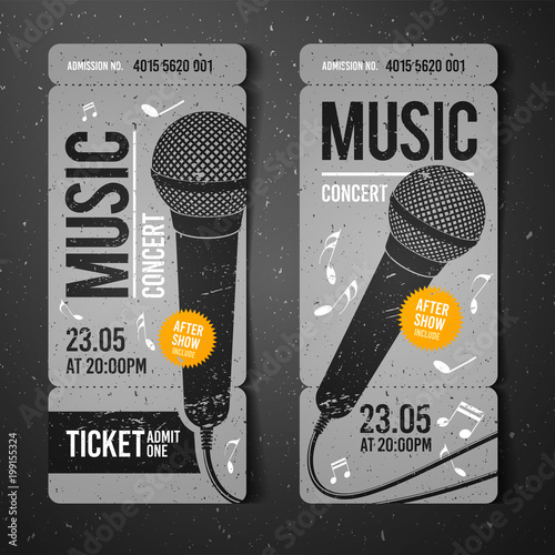vector illustration gray music concert ticket design template with