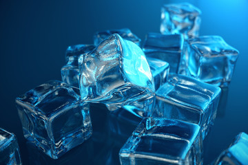 3D rendering ice cube on blue tint background. Frozen water cube