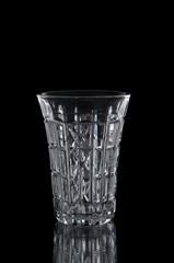 Wine glass close up on black background