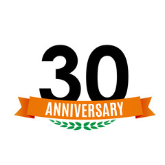 Template 30 Years Anniversary Background with Ribbon Vector Illustration